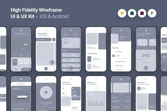 High Fidelity Wireframe UI UX Kit iOS Android App - panoplystore - Figma:Photoshop:XD:Sketch