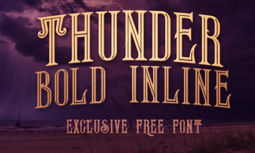 Free Fonts Thunder Bold Inline